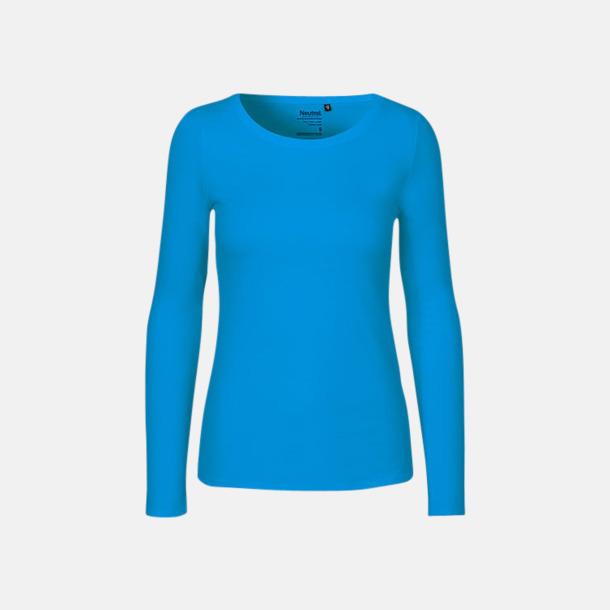 Långärmad Sapphire (dam) Fitted t-shirts i ekologisk fairtrade-bomull med tryck
