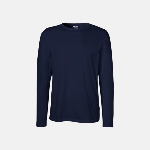 Långärmad Marinblå (herr) Fitted t-shirts i ekologisk fairtrade-bomull med tryck
