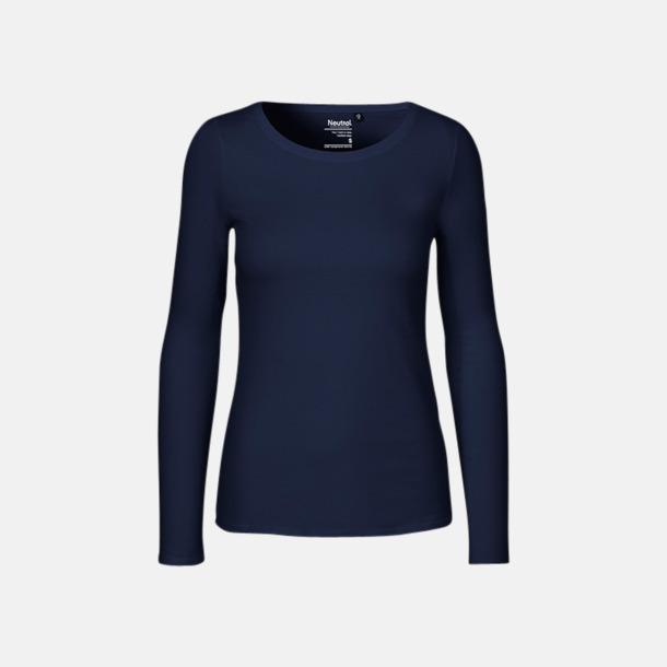 Långärmad Marinblå (dam) Fitted t-shirts i ekologisk fairtrade-bomull med tryck
