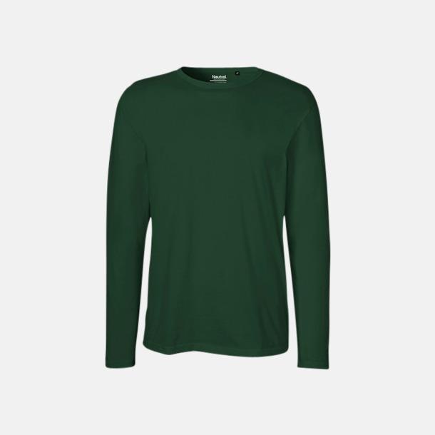 Långärmad Bottle Green (herr) Fitted t-shirts i ekologisk fairtrade-bomull med tryck