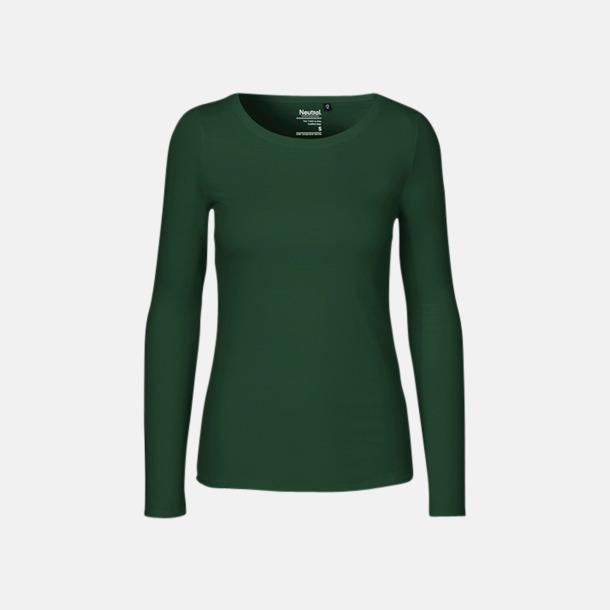 Långärmad Bottle Green (dam) Fitted t-shirts i ekologisk fairtrade-bomull med tryck