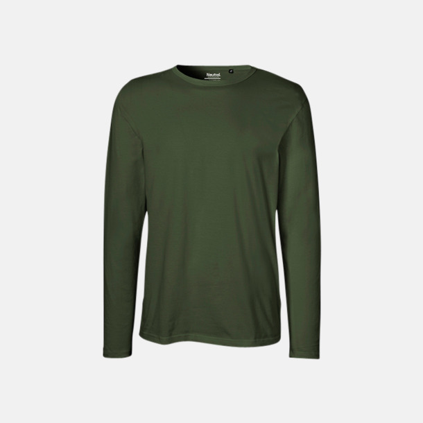 Långärmad Military (herr) Fitted t-shirts i ekologisk fairtrade-bomull med tryck