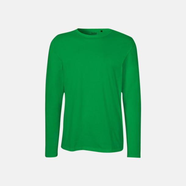 Långärmad Grön (herr) Fitted t-shirts i ekologisk fairtrade-bomull med tryck