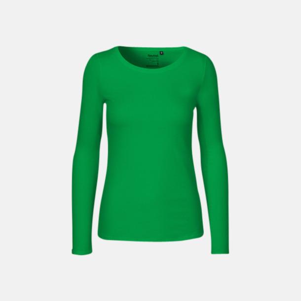 Långärmad Grön (dam) Fitted t-shirts i ekologisk fairtrade-bomull med tryck