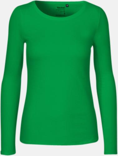 Långärmad Grön (dam) Fitted t-shirts i ekologisk fairtrade-bomull med tryck e934ab63010de