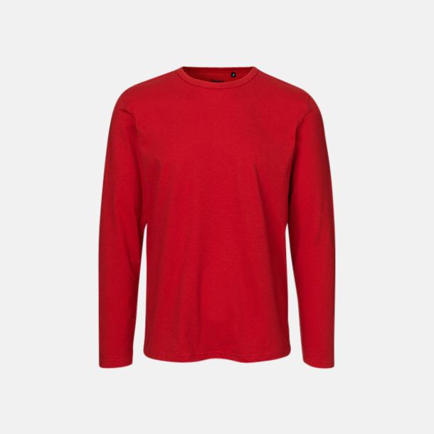 Långärmad Röd (herr) Fitted t-shirts i ekologisk fairtrade-bomull med tryck