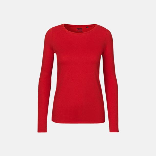 Långärmad Röd (dam) Fitted t-shirts i ekologisk fairtrade-bomull med tryck