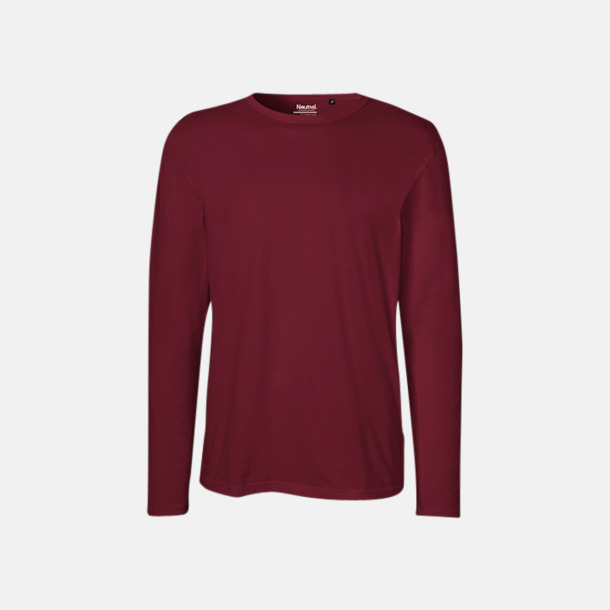 Långärmad Bordeaux (herr) Fitted t-shirts i ekologisk fairtrade-bomull med tryck