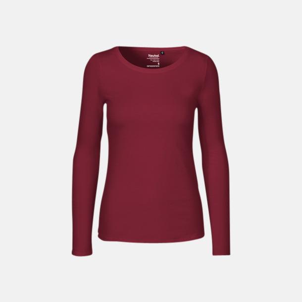 Långärmad Bordeaux (dam) Fitted t-shirts i ekologisk fairtrade-bomull med tryck
