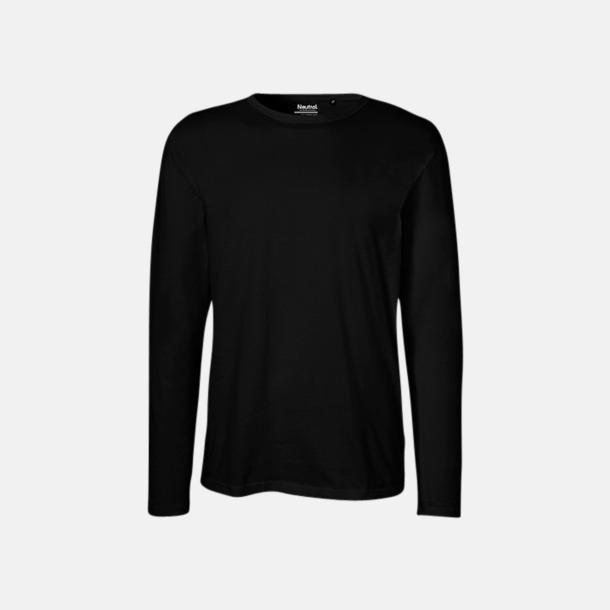 Långärmad Svart (herr) Fitted t-shirts i ekologisk fairtrade-bomull med tryck
