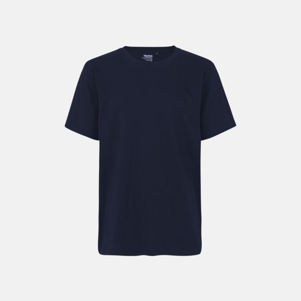 Marinblå Tåliga t-shirts i Fairtrade, eko & återvunnet material med reklamtryck