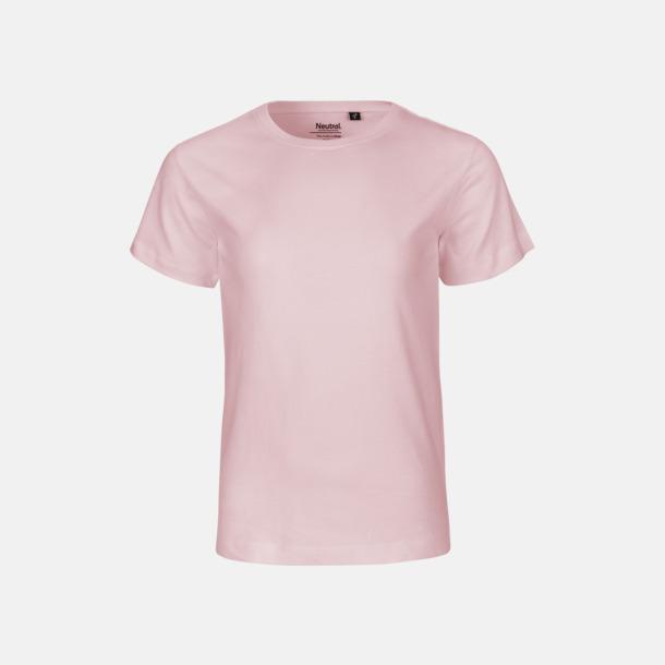 Ljusrosa Ekologiska t-shirts för barn av ekologisk bomull - med tryck