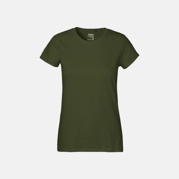 Military (dam) Klassiska t-shirts i ekologisk fairtrade-bomull med tryck