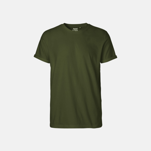 Military (herr) Eko & Fairtrade-certifierade t-shirts med roll up sleeves - med reklamtryck