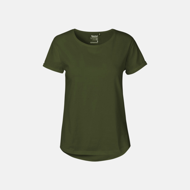 Military (dam) Eko & Fairtrade-certifierade t-shirts med roll up sleeves - med reklamtryck