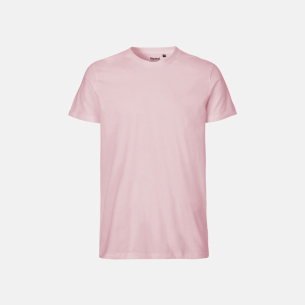 Ljusrosa (herr) Fitted t-shirts i ekologisk fairtrade-bomull med tryck