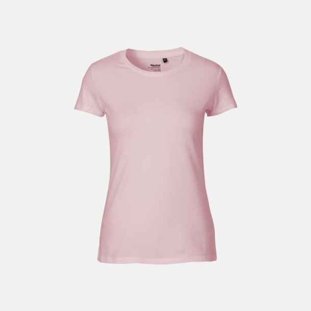 Ljusrosa (dam) Fitted t-shirts i ekologisk fairtrade-bomull med tryck