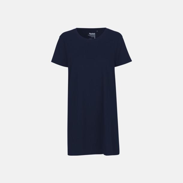 Marinblå Långa dam t-shirts i eko & Fairtrade bomull - med reklamtryck