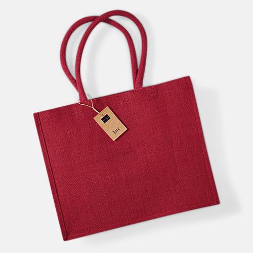 Röd Juteväskor med färgade handtag - med reklamtryck