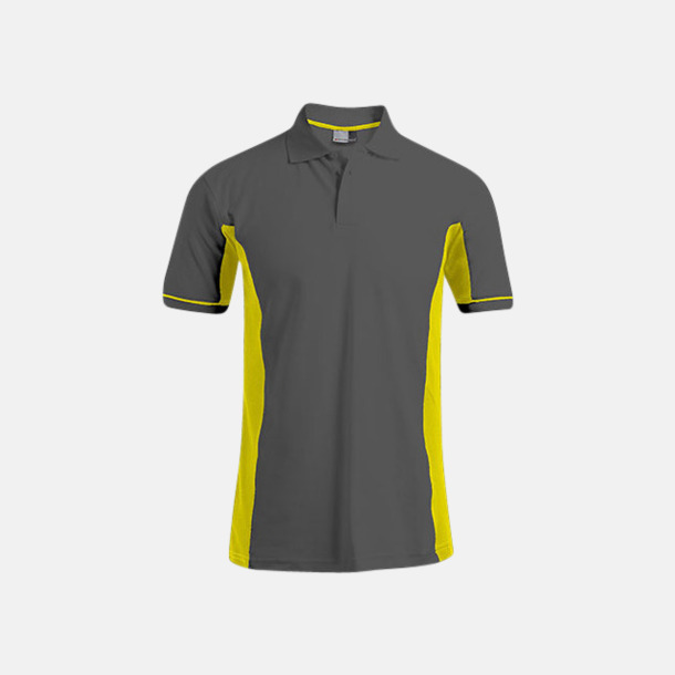 Graphite/Saftey Yellow (herr) Pikétröjor i funktionsmaterial med tryck