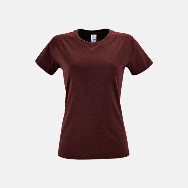 Burgundy Billiga dam t-shirts i många färger med reklamtryck