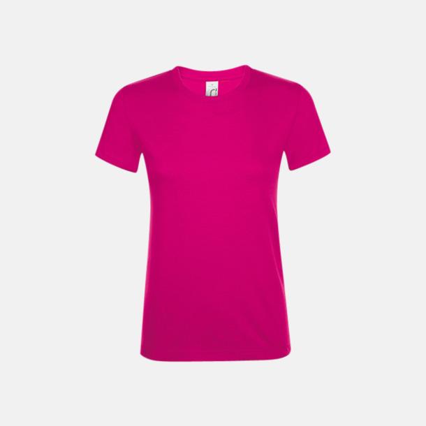 Fuchsia Billiga dam t-shirts i många färger med reklamtryck
