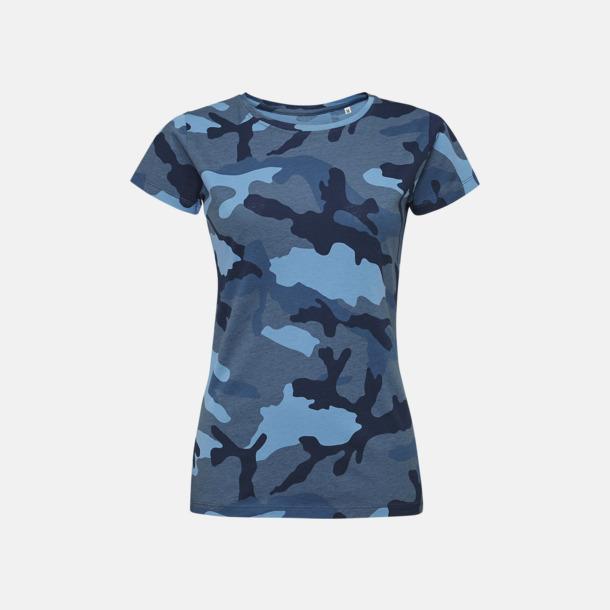Blue Camo (dam) Kamouflagemönstrade t-shirts i herr- & dammodell med reklamtryck
