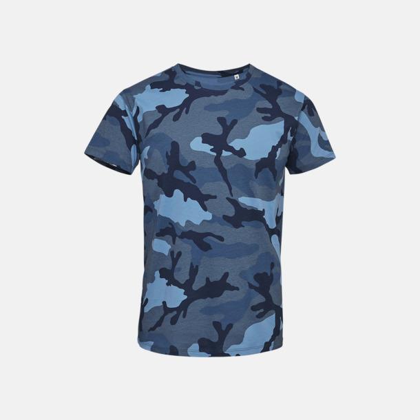Blue Camo (herr) Kamouflagemönstrade t-shirts i herr- & dammodell med reklamtryck