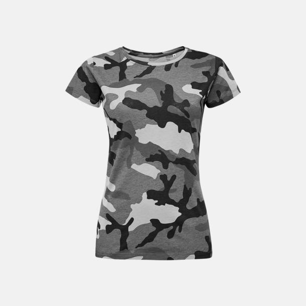 Grey Camo (dam) Kamouflagemönstrade t-shirts i herr- & dammodell med reklamtryck