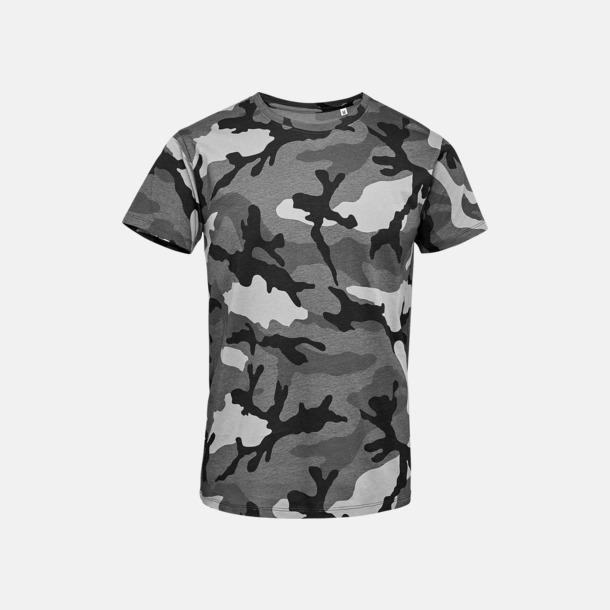Grey Camo (herr) Kamouflagemönstrade t-shirts i herr- & dammodell med reklamtryck
