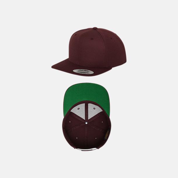 Maroon/Grön Snapback kepsar med flexfit - med reklamtryck