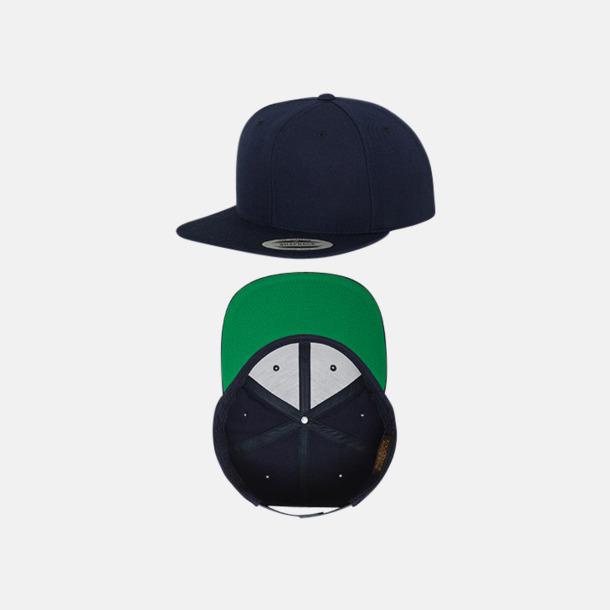 Marinblå/Grön Snapback kepsar med flexfit - med reklamtryck