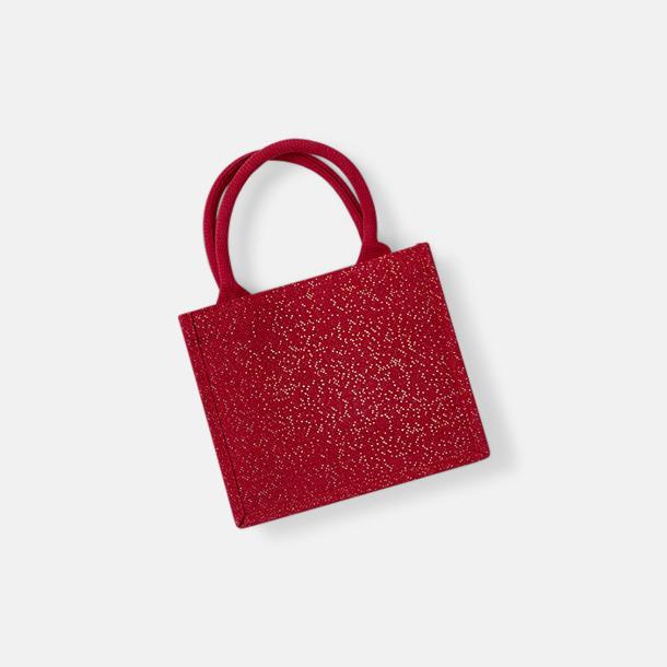 Röd / Guld Skimrande gåvopåsar i jute med reklamtryck