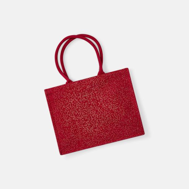 Röd / Guld Jutekassar med skimmer - med reklamtryck
