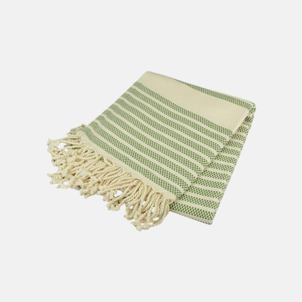 Olive/Ivory Traditionella, vävda handdukar med reklamlogo