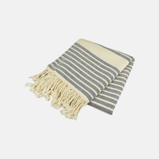 Marinblå/Ivory Traditionella, vävda handdukar med reklamlogo