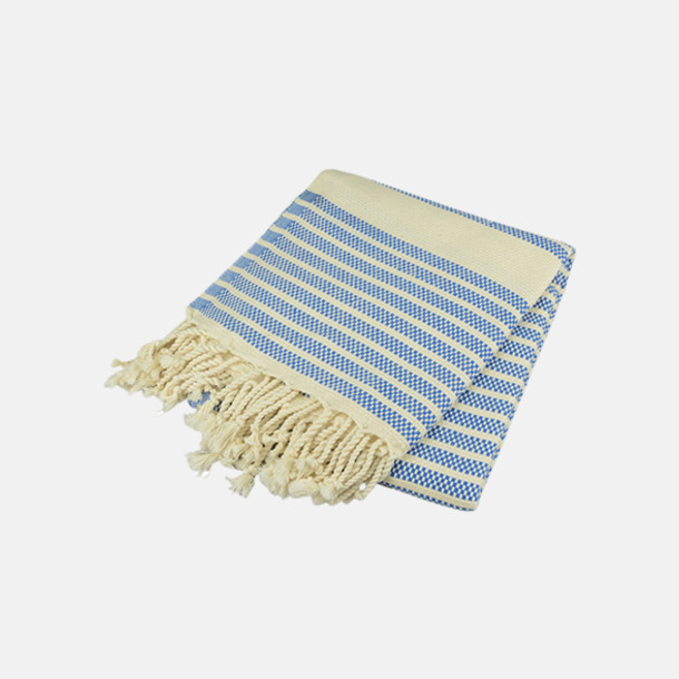 Ocean Blue/Ivory Traditionella, vävda handdukar med reklamlogo