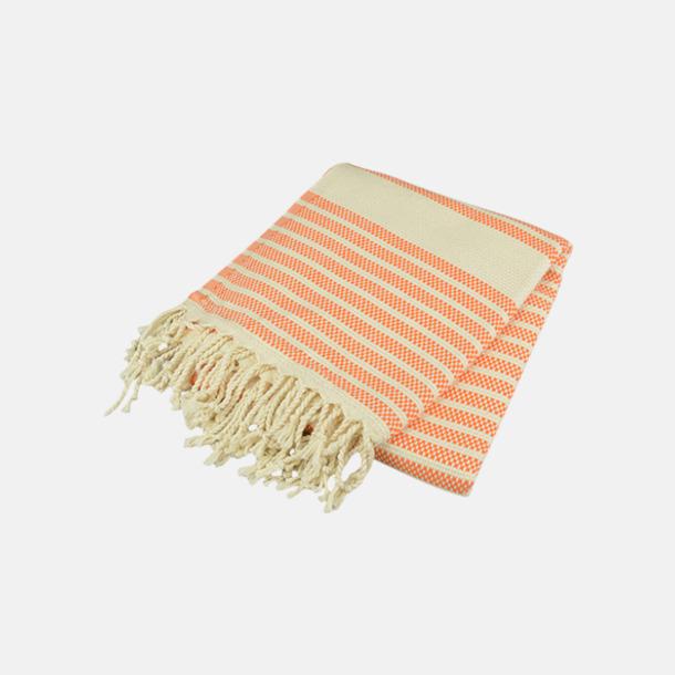 Orange/Ivory Traditionella, vävda handdukar med reklamlogo