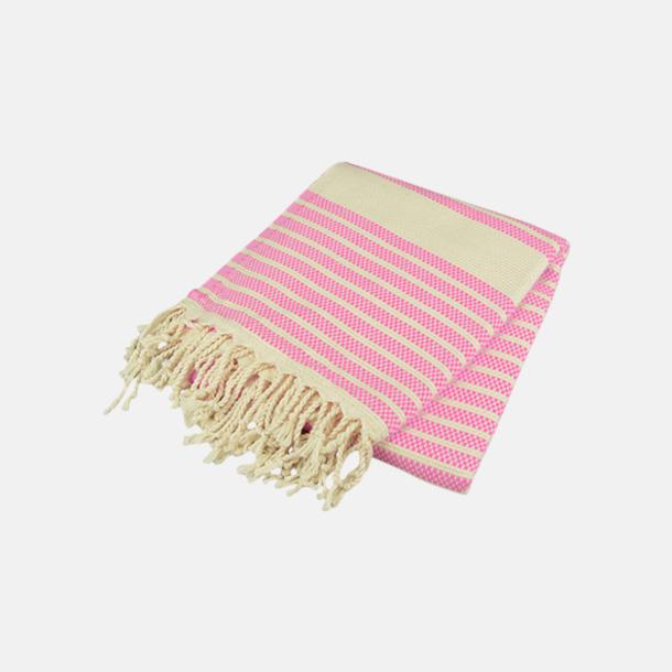 Rosa/Ivory Traditionella, vävda handdukar med reklamlogo