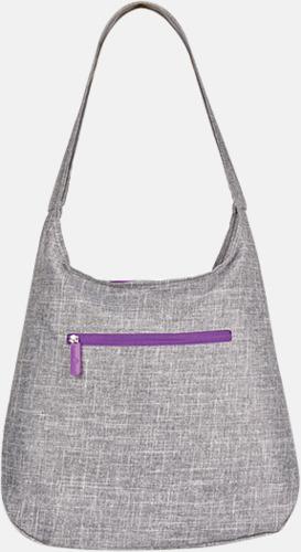 Grey Melange/Neon Lilac Melerade handväskor med reklamtryck