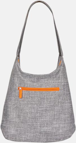 Grey Melange/Neon Orange Melerade handväskor med reklamtryck