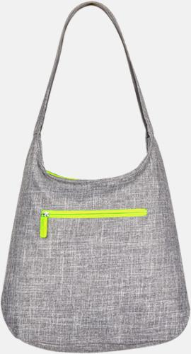 Grey Melange/Neon Yellow Melerade handväskor med reklamtryck