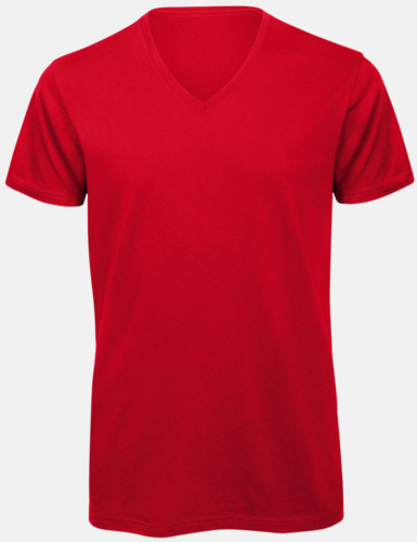 Röd (herr) Neutrala v-hals eko t-shirts med reklamtryck