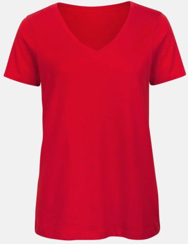 Röd (dam) Neutrala v-hals eko t-shirts med reklamtryck