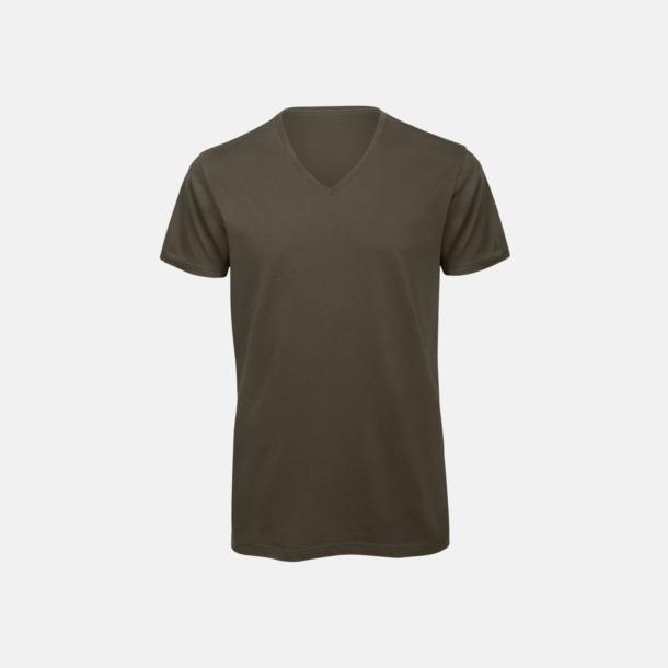 Khaki (herr) Neutrala v-hals eko t-shirts med reklamtryck