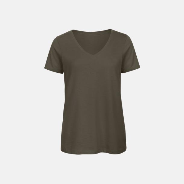 Khaki (dam) Neutrala v-hals eko t-shirts med reklamtryck