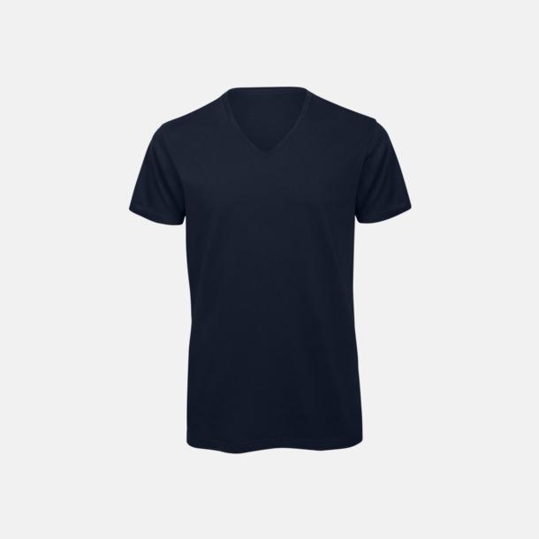 Marinblå (herr) Neutrala v-hals eko t-shirts med reklamtryck