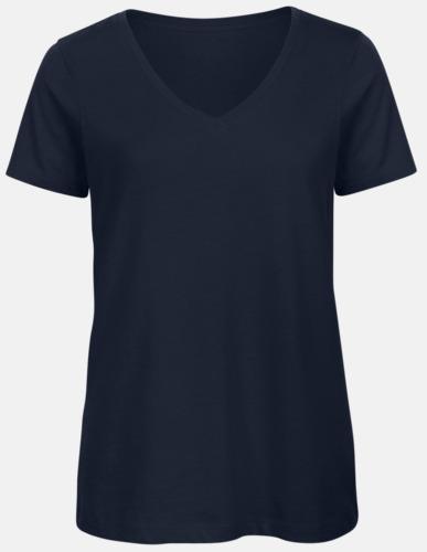 Marinblå (dam) Neutrala v-hals eko t-shirts med reklamtryck