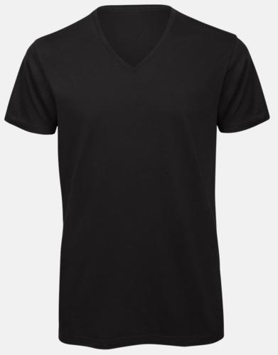 Svart (herr) Neutrala v-hals eko t-shirts med reklamtryck