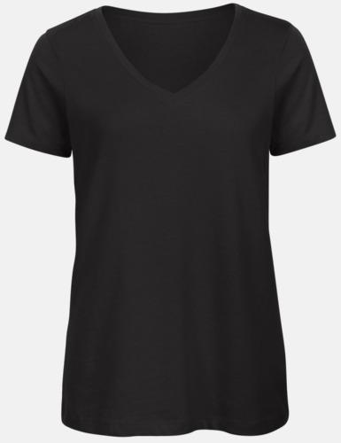 Svart (dam) Neutrala v-hals eko t-shirts med reklamtryck